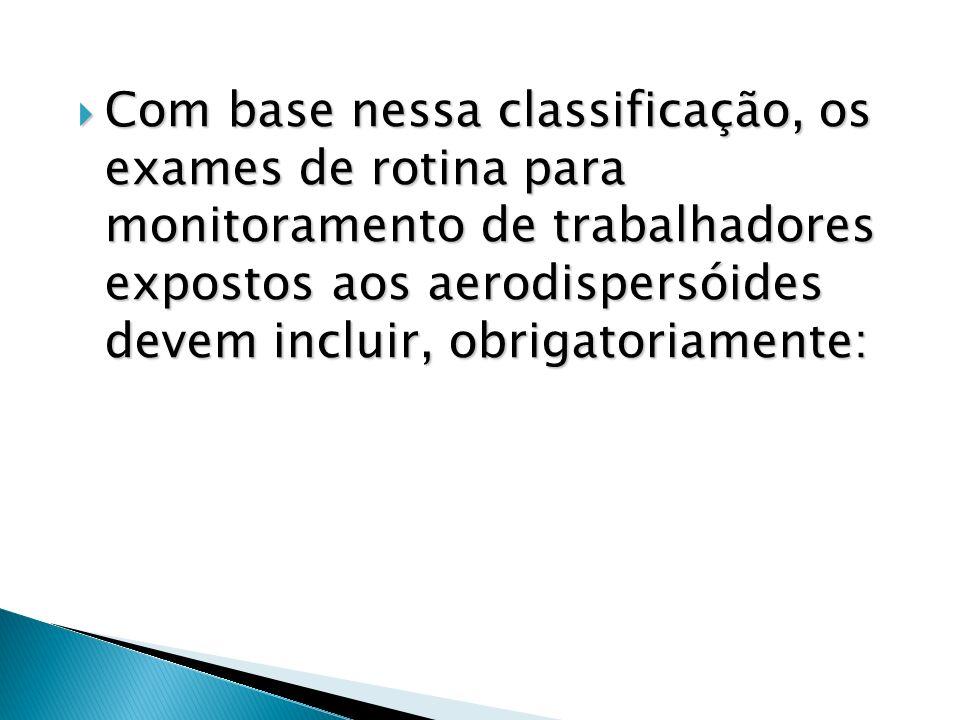 Com base nessa classificação, os exames de rotina para monitoramento de trabalhadores expostos aos aerodispersóides devem incluir, obrigatoriamente: C