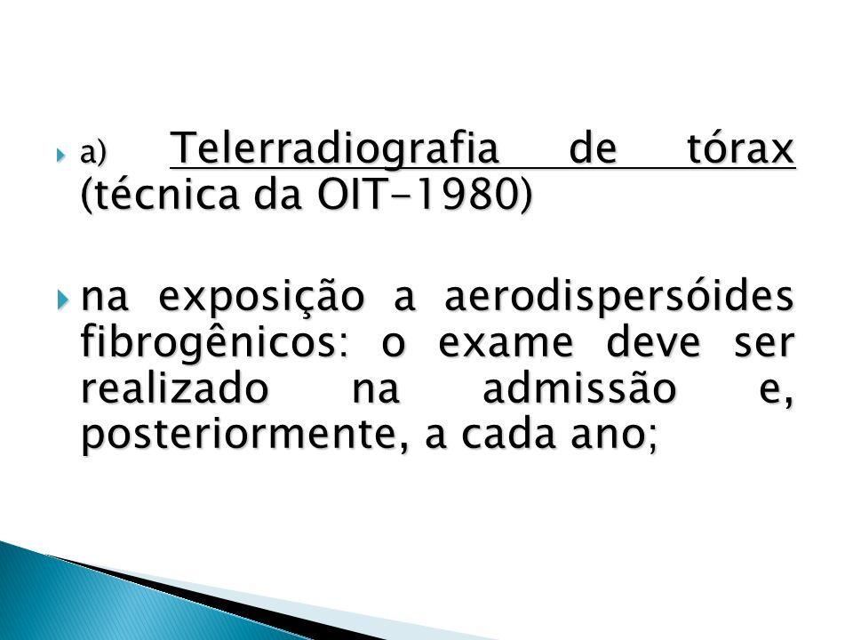 a) Telerradiografia de tórax (técnica da OIT-1980) a) Telerradiografia de tórax (técnica da OIT-1980) na exposição a aerodispersóides fibrogênicos: o