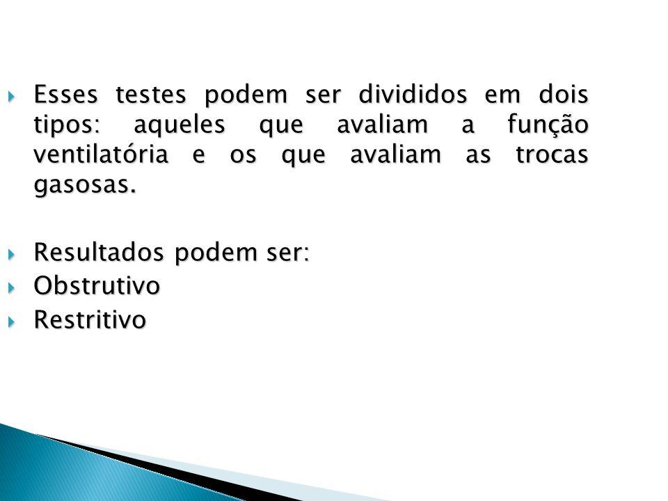 Esses testes podem ser divididos em dois tipos: aqueles que avaliam a função ventilatória e os que avaliam as trocas gasosas. Esses testes podem ser d