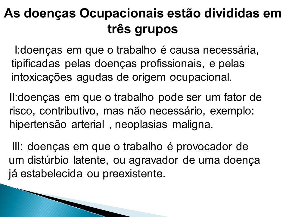 As doenças Ocupacionais estão divididas em três grupos I:doenças em que o trabalho é causa necessária, tipificadas pelas doenças profissionais, e pela