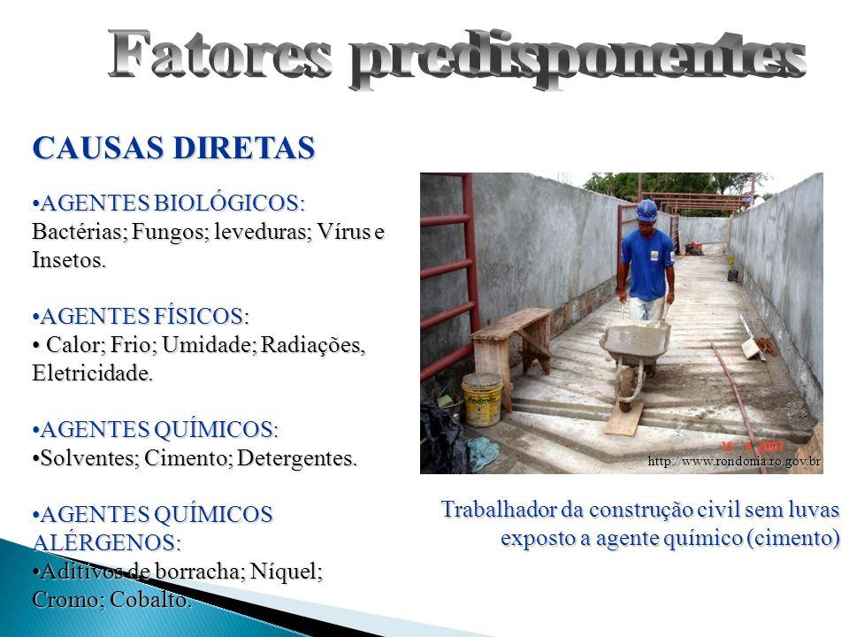 CAUSAS DIRETAS AGENTES BIOLÓGICOS: Bactérias; Fungos; leveduras; Vírus e Insetos.AGENTES BIOLÓGICOS: Bactérias; Fungos; leveduras; Vírus e Insetos. AG