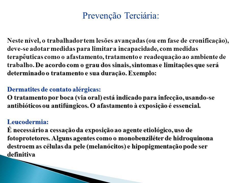 Prevenção Terciária: De acordo com o grau dos sinais, sintomas e limitações que será determinado o tratamento e sua duração. Exemplo: Neste nível, o t