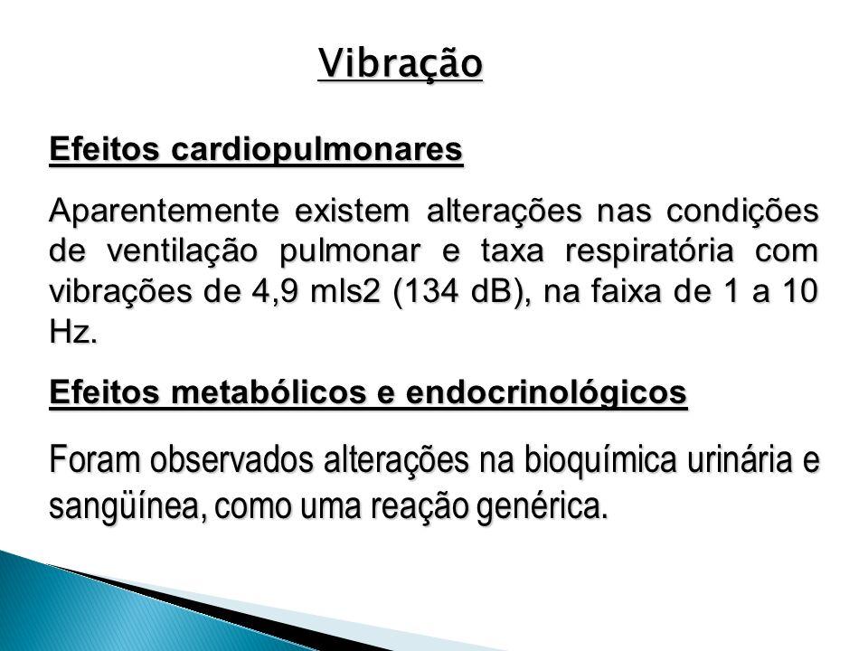 Efeitos cardiopulmonares Aparentemente existem alterações nas condições de ventilação pulmonar e taxa respiratória com vibrações de 4,9 mls2 (134 dB),
