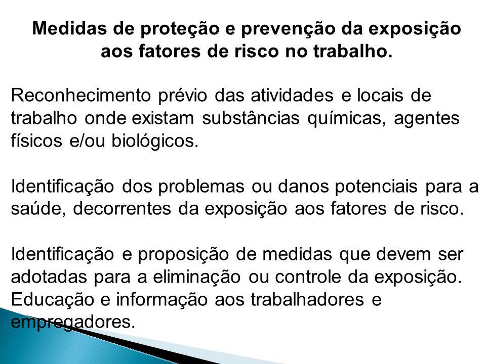 Medidas de proteção e prevenção da exposição aos fatores de risco no trabalho. Reconhecimento prévio das atividades e locais de trabalho onde existam