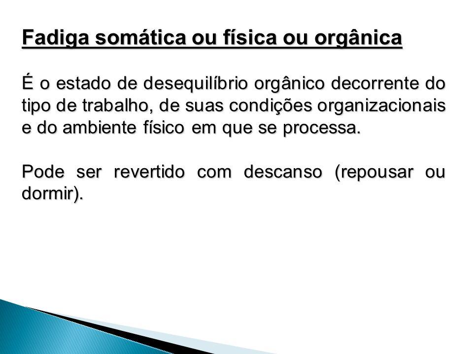 Fadiga somática ou física ou orgânica É o estado de desequilíbrio orgânico decorrente do tipo de trabalho, de suas condições organizacionais e do ambi