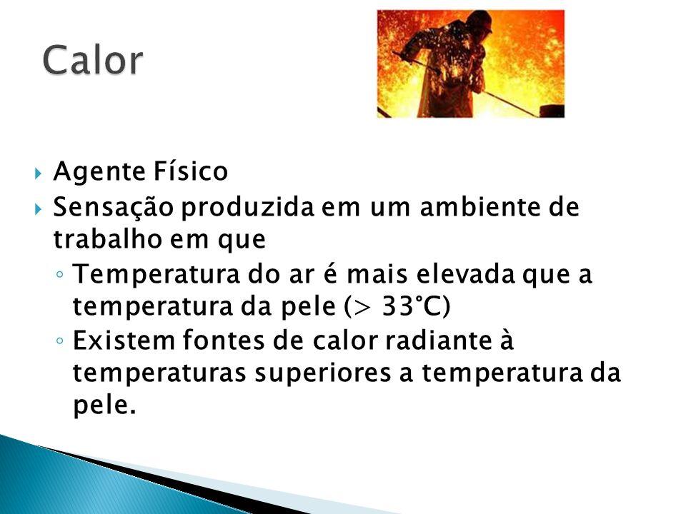 Agente Físico Sensação produzida em um ambiente de trabalho em que Temperatura do ar é mais elevada que a temperatura da pele (> 33°C) Existem fontes