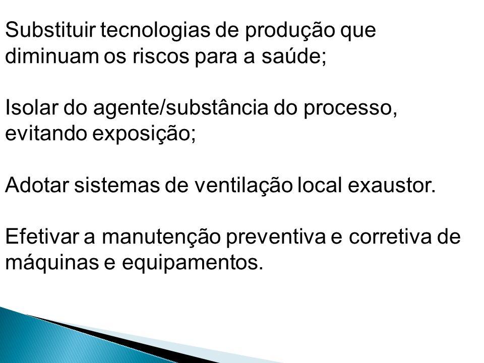 Substituir tecnologias de produção que diminuam os riscos para a saúde; Isolar do agente/substância do processo, evitando exposição; Adotar sistemas d