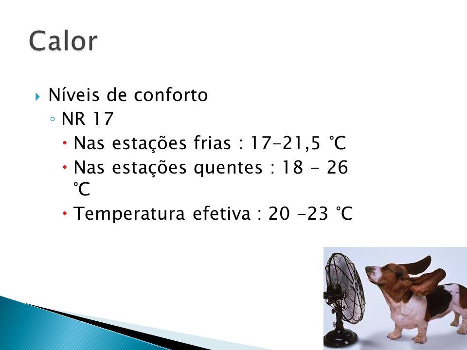Níveis de conforto NR 17 Nas estações frias : 17-21,5 °C Nas estações quentes : 18 - 26 °C Temperatura efetiva : 20 -23 °C