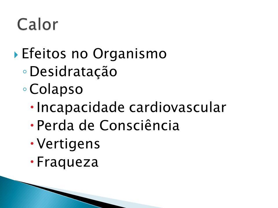 Efeitos no Organismo Desidratação Colapso Incapacidade cardiovascular Perda de Consciência Vertigens Fraqueza