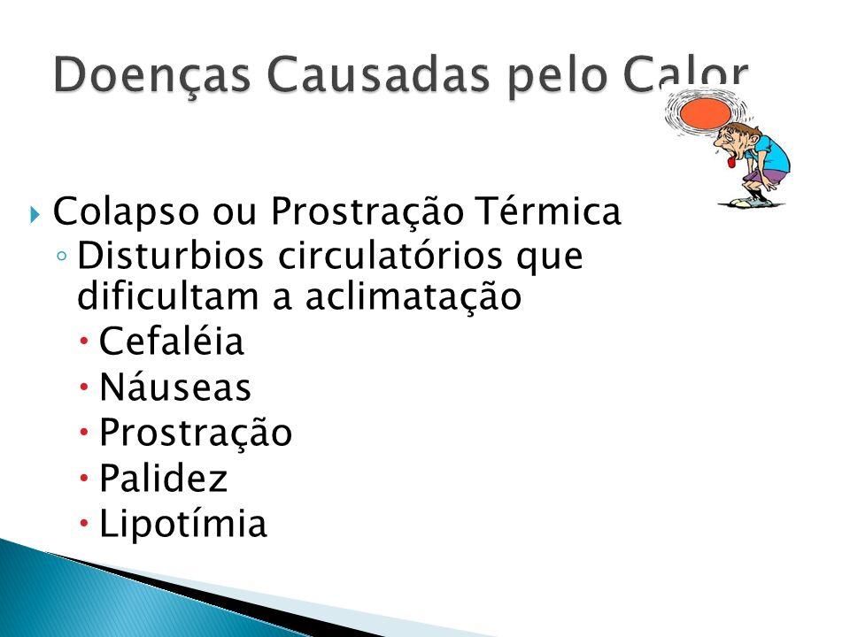 Colapso ou Prostração Térmica Disturbios circulatórios que dificultam a aclimatação Cefaléia Náuseas Prostração Palidez Lipotímia