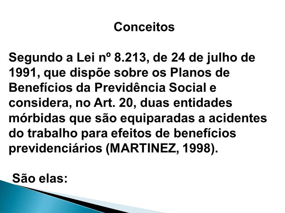 Conceitos Segundo a Lei nº 8.213, de 24 de julho de 1991, que dispõe sobre os Planos de Benefícios da Previdência Social e considera, no Art. 20, duas