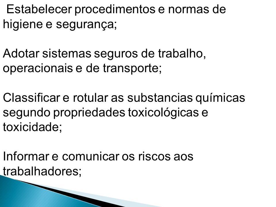 Estabelecer procedimentos e normas de higiene e segurança; Adotar sistemas seguros de trabalho, operacionais e de transporte; Classificar e rotular as