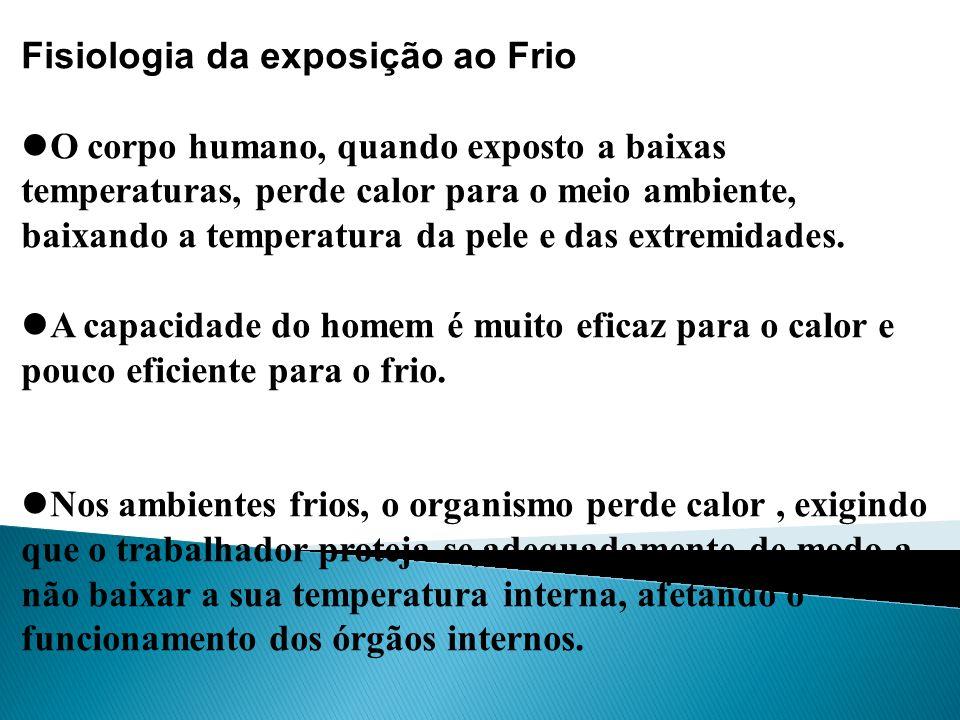 Fisiologia da exposição ao Frio O corpo humano, quando exposto a baixas temperaturas, perde calor para o meio ambiente, baixando a temperatura da pele