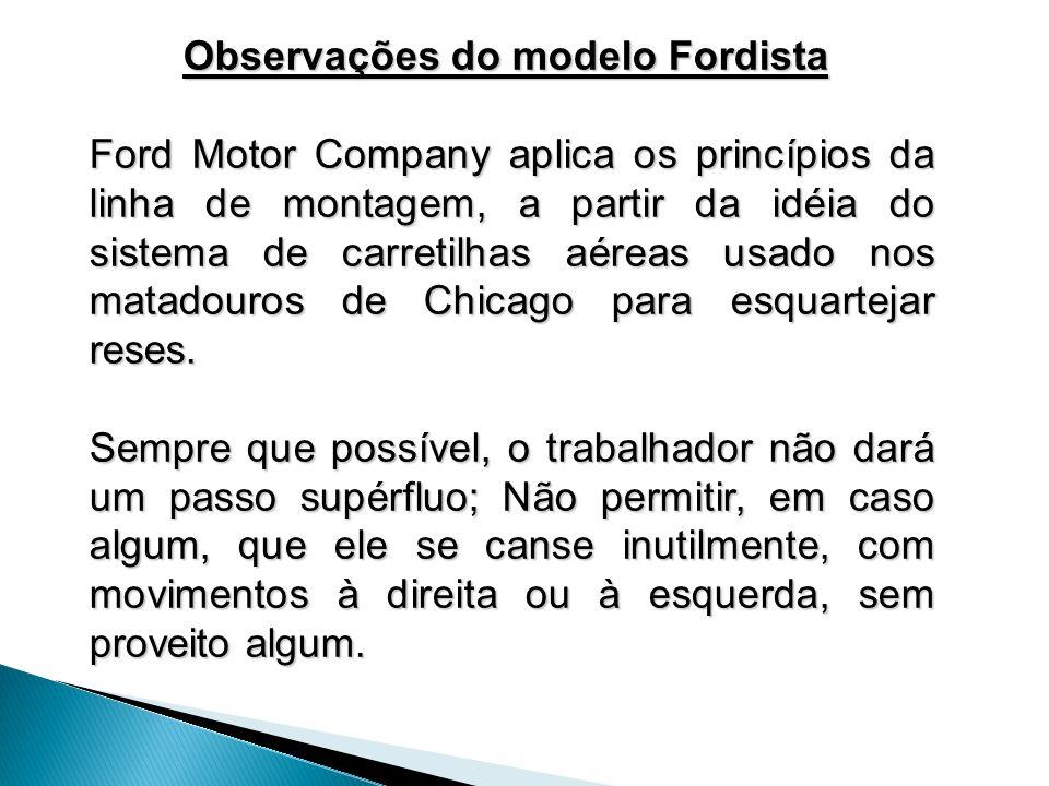 Observações do modelo Fordista Observações do modelo Fordista Ford Motor Company aplica os princípios da linha de montagem, a partir da idéia do siste