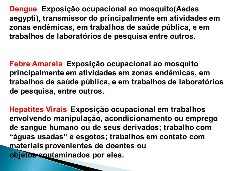 Dengue Exposição ocupacional ao mosquito(Aedes aegypti), transmissor do principalmente em atividades em zonas endêmicas, em trabalhos de saúde pública