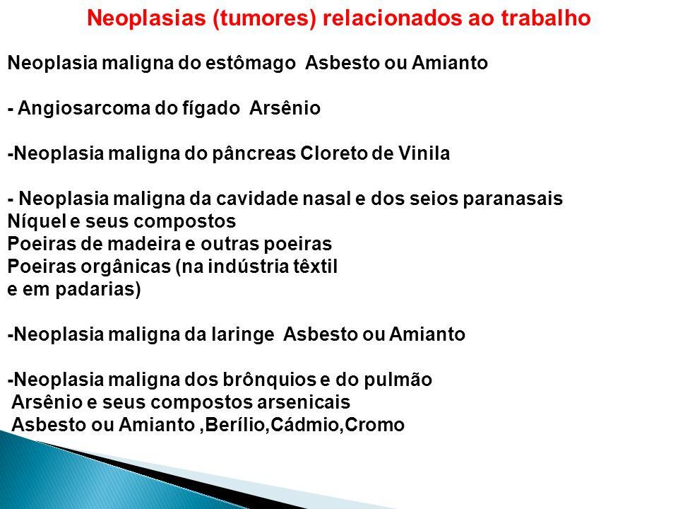 Neoplasias (tumores) relacionados ao trabalho Neoplasia maligna do estômago Asbesto ou Amianto - Angiosarcoma do fígado Arsênio -Neoplasia maligna do