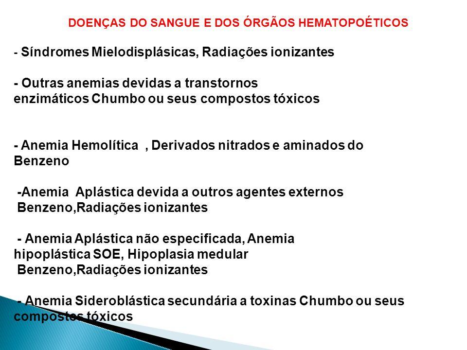 DOENÇAS DO SANGUE E DOS ÓRGÃOS HEMATOPOÉTICOS - Síndromes Mielodisplásicas, Radiações ionizantes - Outras anemias devidas a transtornos enzimáticos Ch