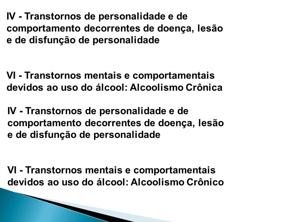 IV - Transtornos de personalidade e de comportamento decorrentes de doença, lesão e de disfunção de personalidade VI - Transtornos mentais e comportam