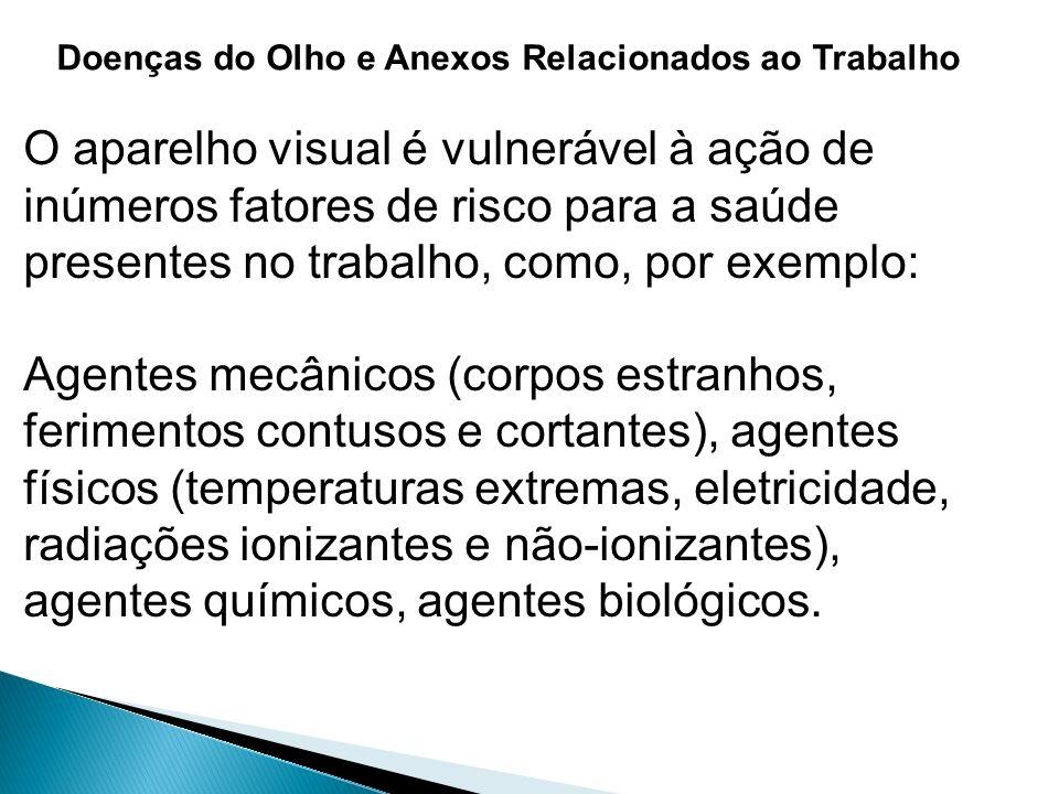 Doenças do Olho e Anexos Relacionados ao Trabalho O aparelho visual é vulnerável à ação de inúmeros fatores de risco para a saúde presentes no trabalh