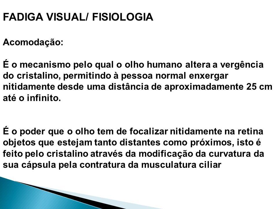 FADIGA VISUAL/ FISIOLOGIA Acomodação: É o mecanismo pelo qual o olho humano altera a vergência do cristalino, permitindo à pessoa normal enxergar niti