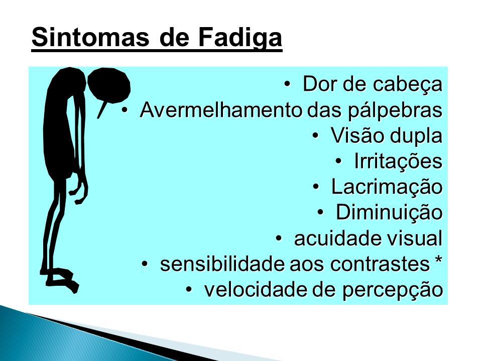 Dor de cabeça Avermelhamento das pálpebras Visão dupla Irritações Lacrimação Diminuição acuidade visual sensibilidade aos contrastes * velocidade de p