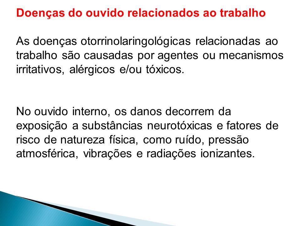 Doenças do ouvido relacionados ao trabalho As doenças otorrinolaringológicas relacionadas ao trabalho são causadas por agentes ou mecanismos irritativ