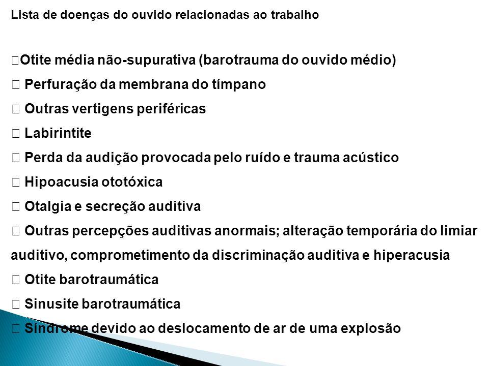 Lista de doenças do ouvido relacionadas ao trabalho Otite média não-supurativa (barotrauma do ouvido médio) Perfuração da membrana do tímpano Outras v