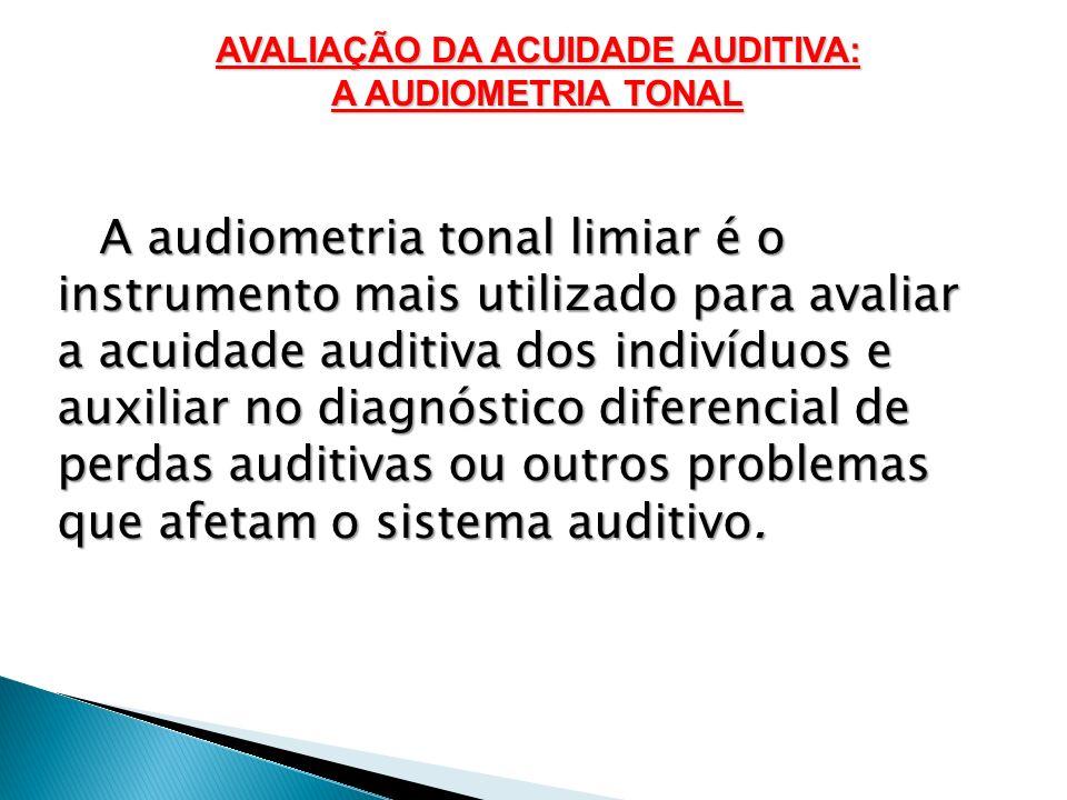 A audiometria tonal limiar é o instrumento mais utilizado para avaliar a acuidade auditiva dos indivíduos e auxiliar no diagnóstico diferencial de per