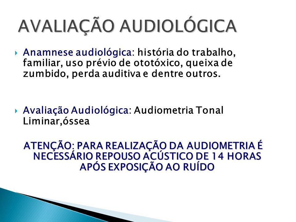 Anamnese audiológica: história do trabalho, familiar, uso prévio de ototóxico, queixa de zumbido, perda auditiva e dentre outros. Avaliação Audiológic