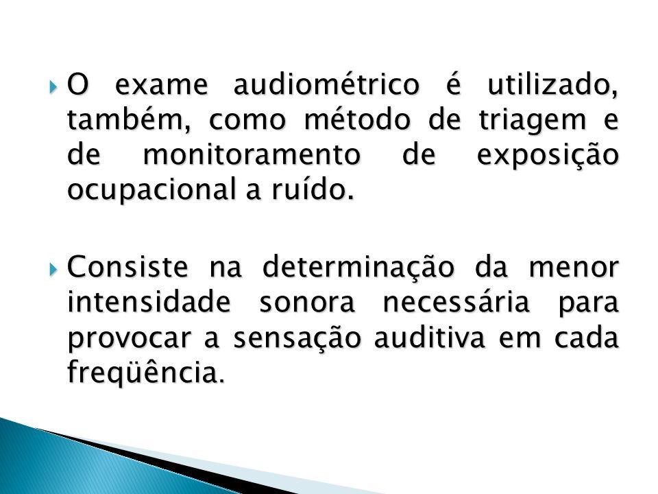 O exame audiométrico é utilizado, também, como método de triagem e de monitoramento de exposição ocupacional a ruído. O exame audiométrico é utilizado