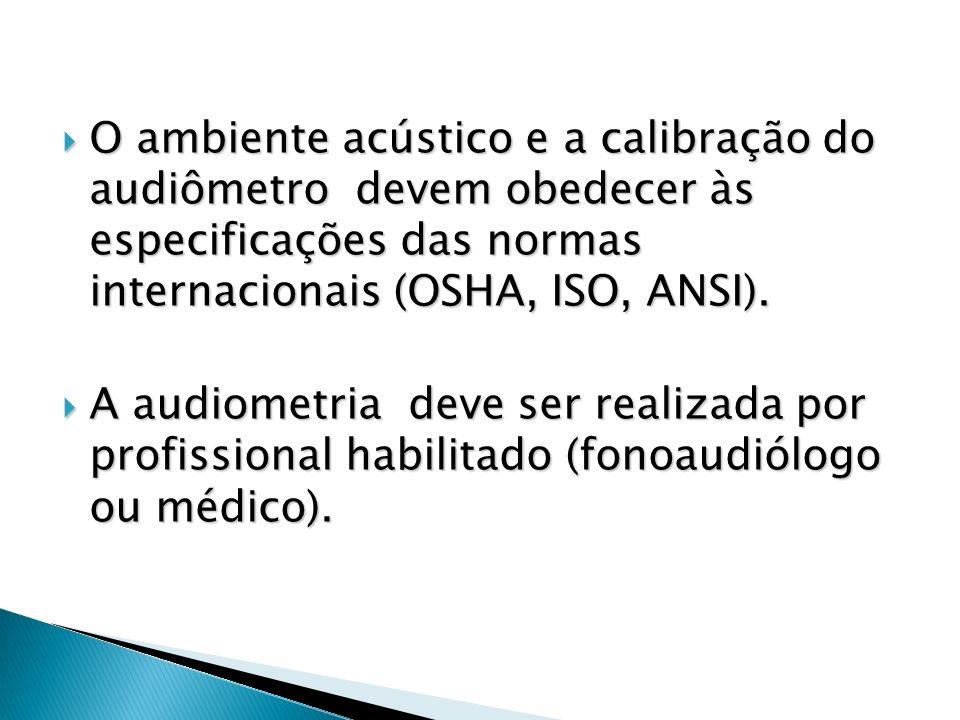 O ambiente acústico e a calibração do audiômetro devem obedecer às especificações das normas internacionais (OSHA, ISO, ANSI). O ambiente acústico e a