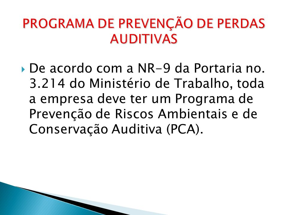 De acordo com a NR-9 da Portaria no. 3.214 do Ministério de Trabalho, toda a empresa deve ter um Programa de Prevenção de Riscos Ambientais e de Conse