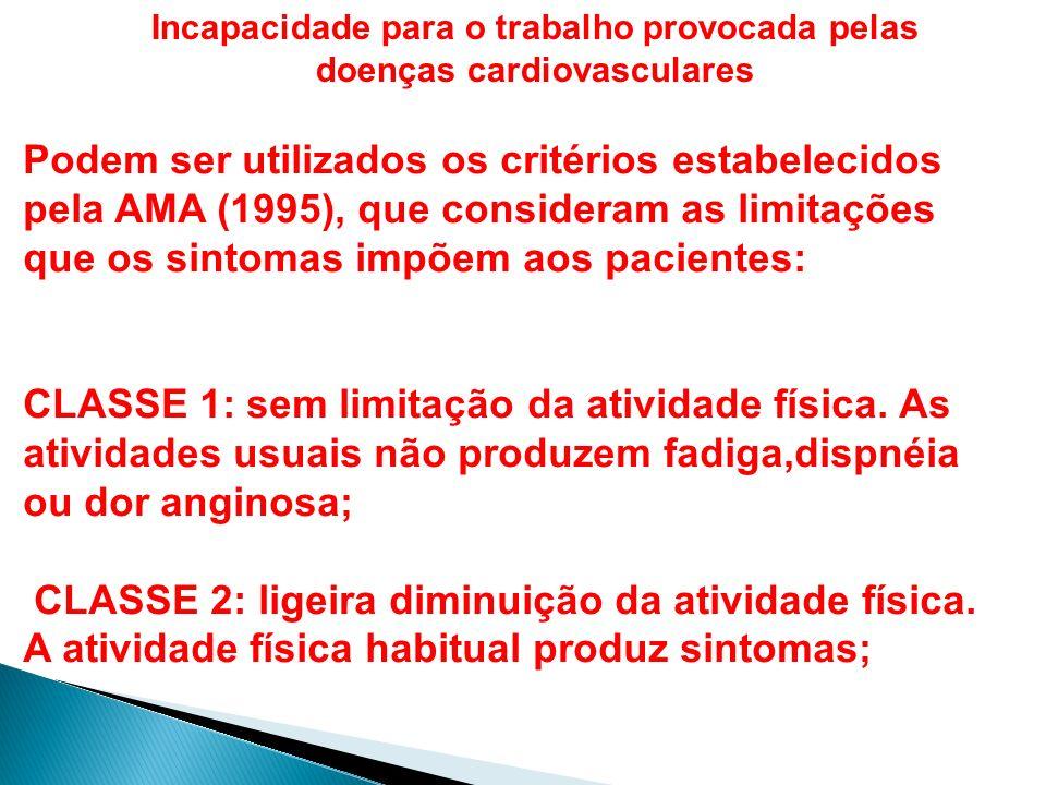 Incapacidade para o trabalho provocada pelas doenças cardiovasculares Podem ser utilizados os critérios estabelecidos pela AMA (1995), que consideram