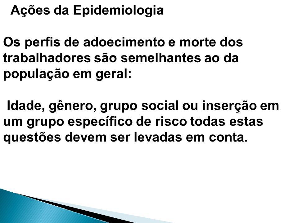 Ações da Epidemiologia Os perfis de adoecimento e morte dos trabalhadores são semelhantes ao da população em geral: Idade, gênero, grupo social ou ins