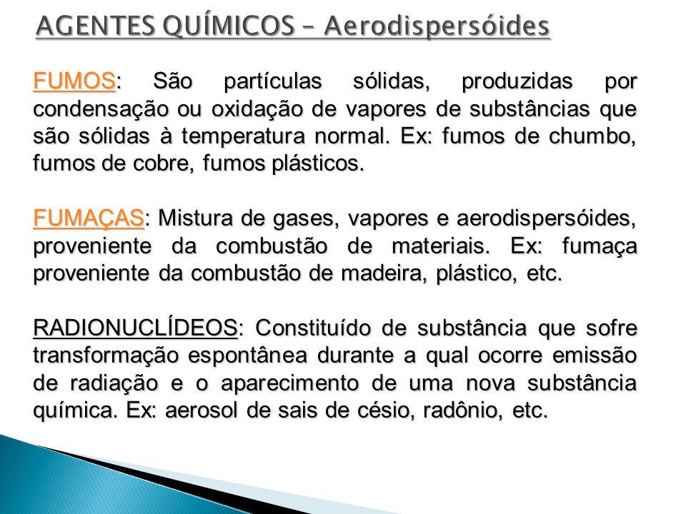 FUMOSFUMOS: São partículas sólidas, produzidas por condensação ou oxidação de vapores de substâncias que são sólidas à temperatura normal. Ex: fumos d