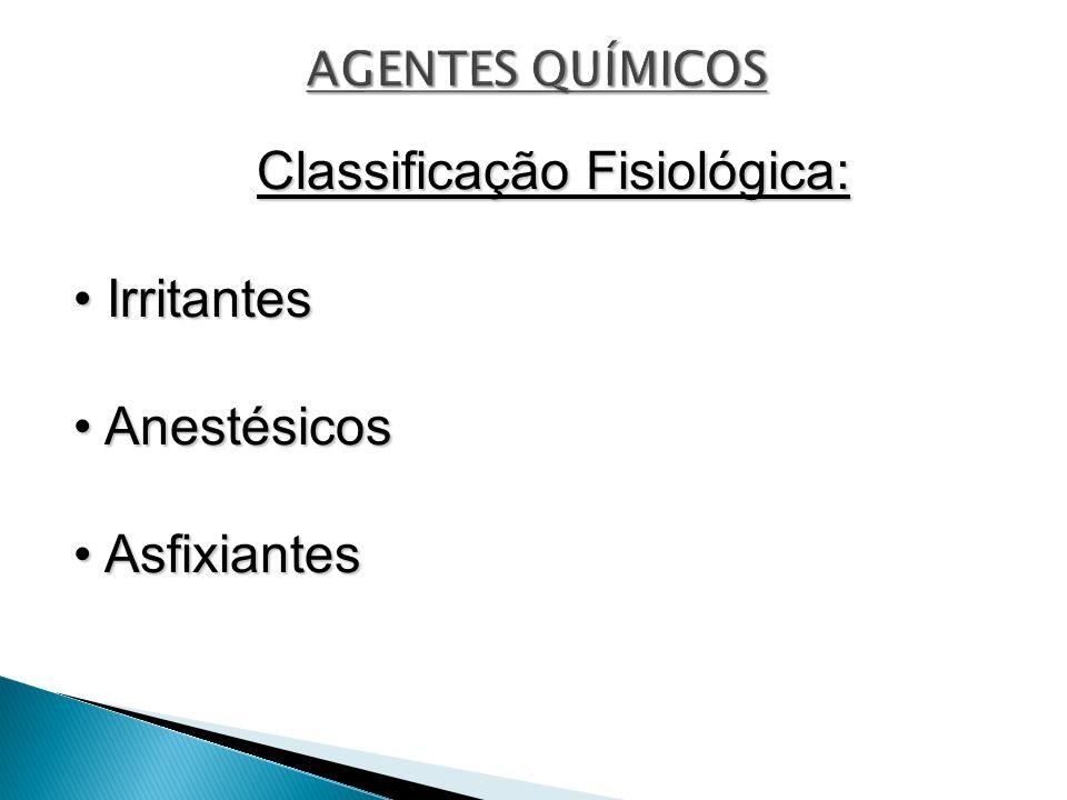 Classificação Fisiológica: Irritantes Irritantes Anestésicos Anestésicos Asfixiantes Asfixiantes