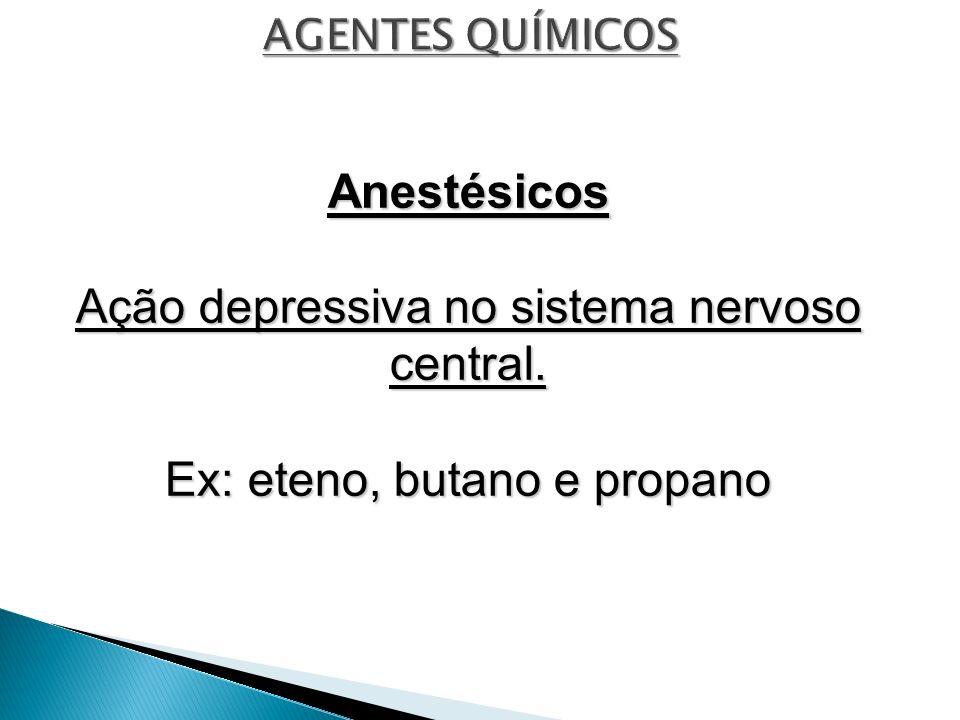 Anestésicos Ação depressiva no sistema nervoso central. Ex: eteno, butano e propano