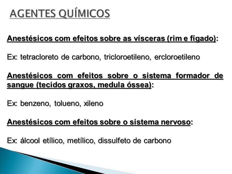 Anestésicos com efeitos sobre as vísceras (rim e fígado): Ex: tetracloreto de carbono, tricloroetileno, ercloroetileno Anestésicos com efeitos sobre o