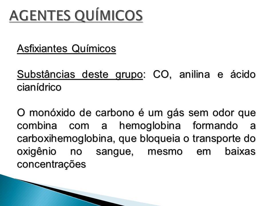 Asfixiantes Químicos Substâncias deste grupo: CO, anilina e ácido cianídrico O monóxido de carbono é um gás sem odor que combina com a hemoglobina for