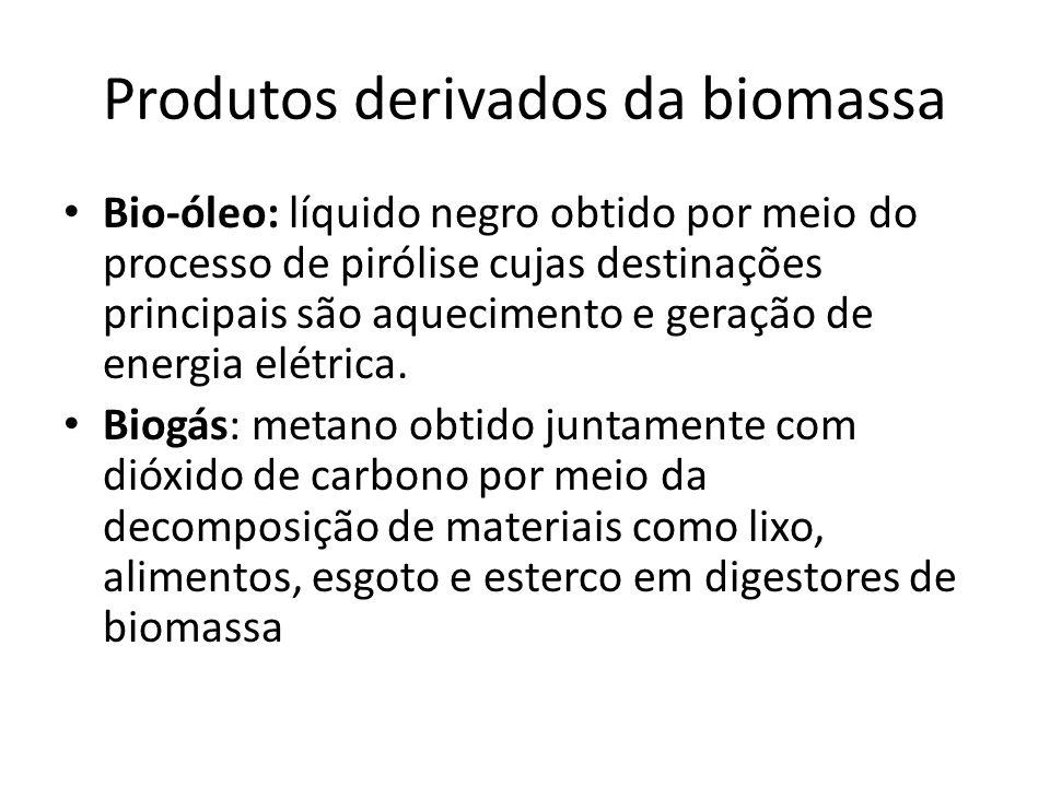 Produtos derivados da biomassa Bio-óleo: líquido negro obtido por meio do processo de pirólise cujas destinações principais são aquecimento e geração