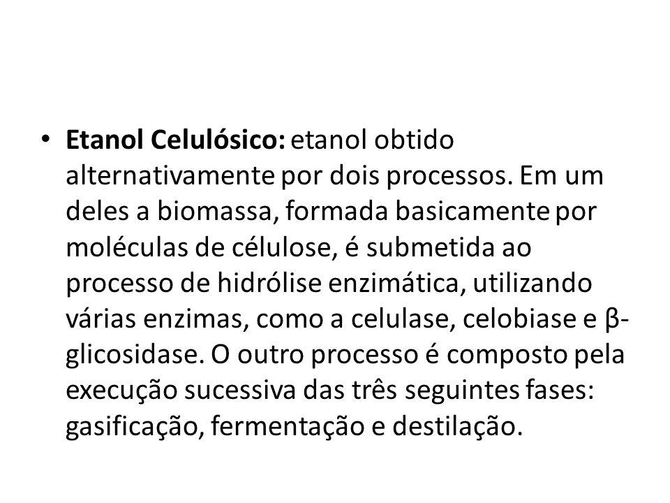Etanol Celulósico: etanol obtido alternativamente por dois processos. Em um deles a biomassa, formada basicamente por moléculas de célulose, é submeti