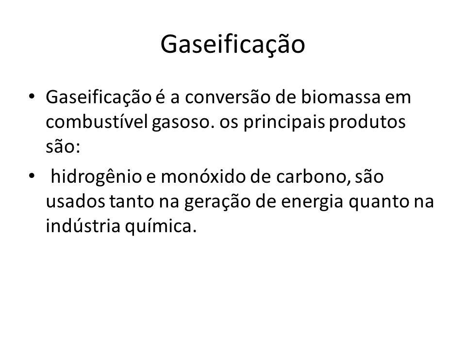 Gaseificação Gaseificação é a conversão de biomassa em combustível gasoso. os principais produtos são: hidrogênio e monóxido de carbono, são usados ta