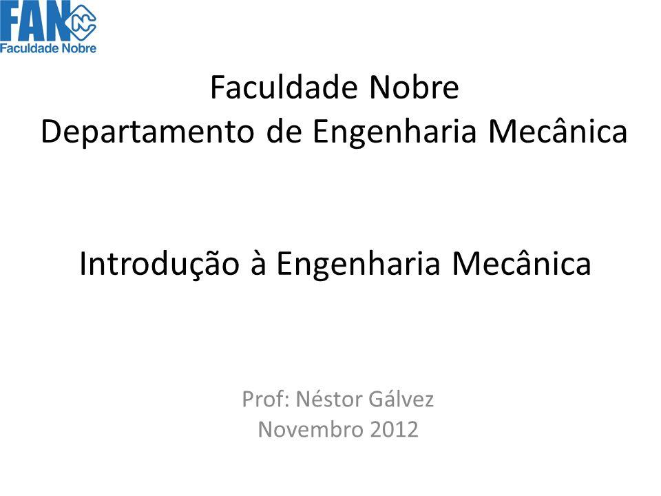 Introdução à Engenharia Mecânica Prof: Néstor Gálvez Novembro 2012 Faculdade Nobre Departamento de Engenharia Mecânica