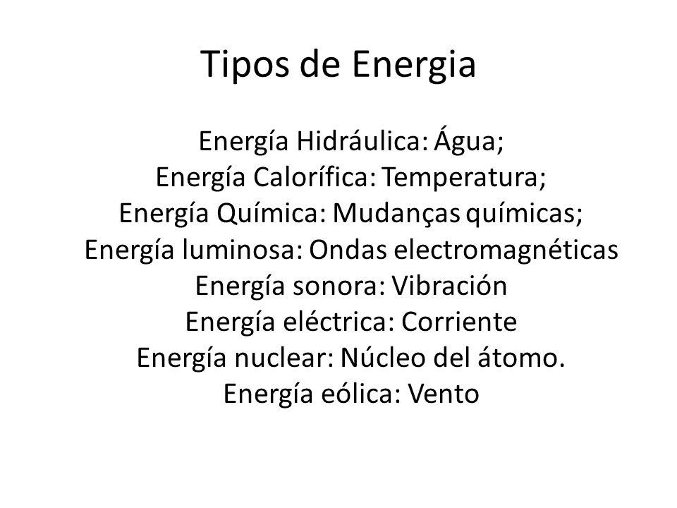 Tipos de Energia Energía Hidráulica: Água; Energía Calorífica: Temperatura; Energía Química: Mudanças químicas; Energía luminosa: Ondas electromagnéti