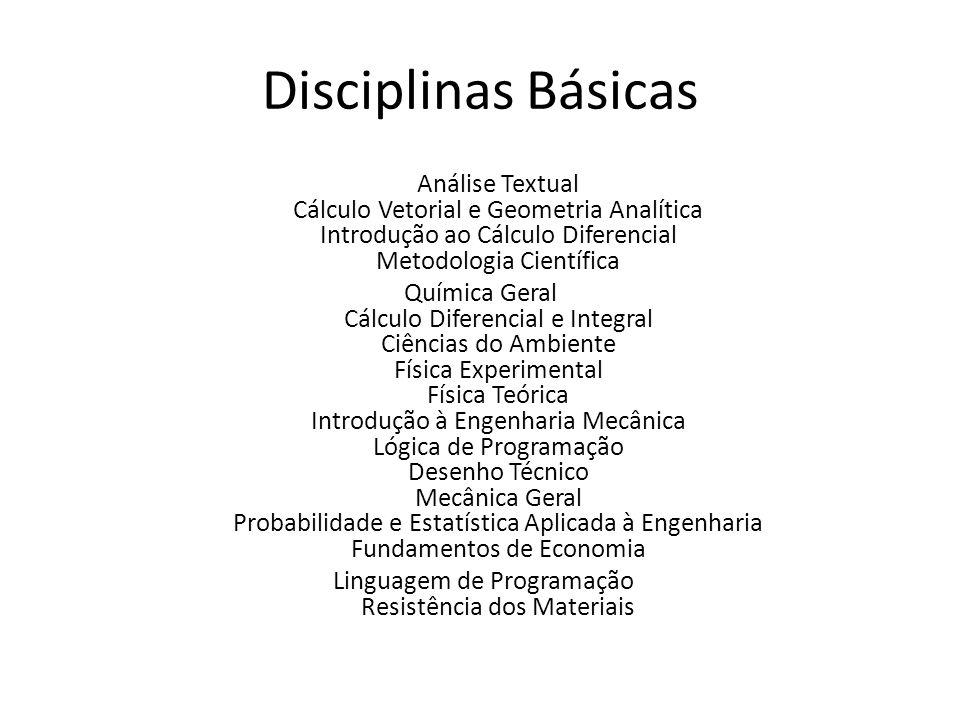Disciplinas Básicas Análise Textual Cálculo Vetorial e Geometria Analítica Introdução ao Cálculo Diferencial Metodologia Científica Química Geral Cálc