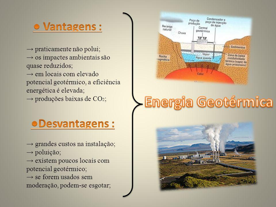 praticamente não polui; os impactes ambientais são quase reduzidos; em locais com elevado potencial geotérmico, a eficiência energética é elevada; produções baixas de CO 2 ; grandes custos na instalação; poluição; existem poucos locais com potencial geotérmico; se forem usados sem moderação, podem-se esgotar;