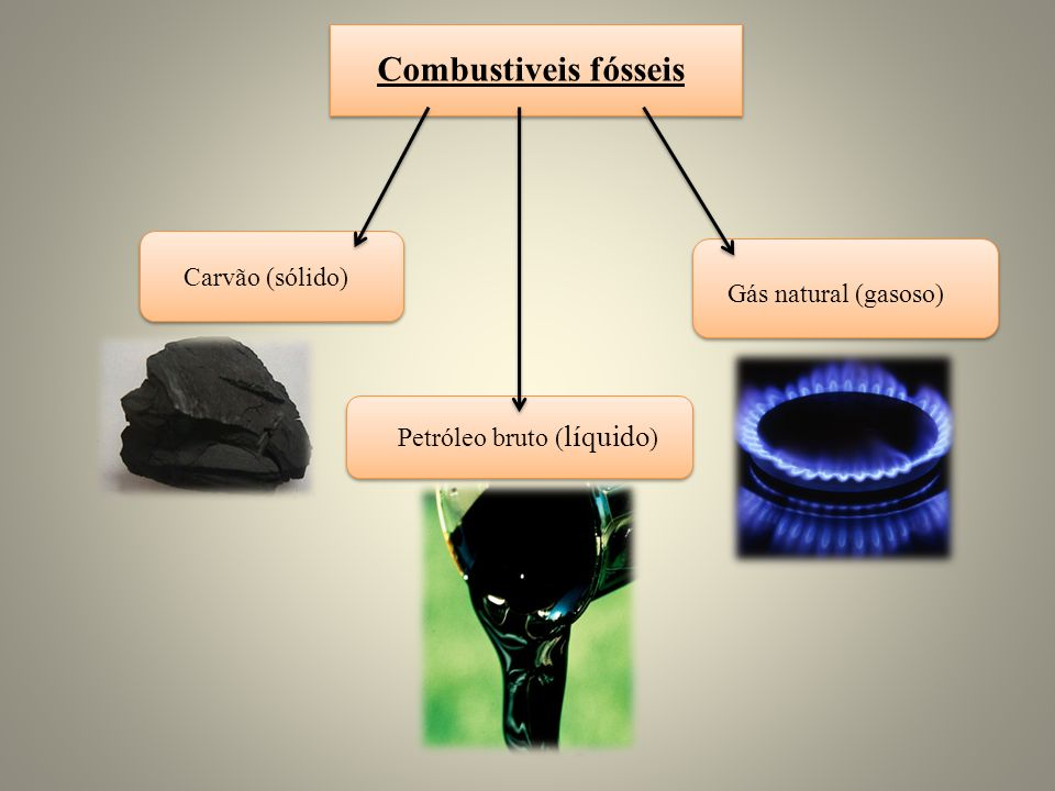 Combustiveis fósseis Carvão (sólido) Petróleo bruto ( líquido ) Gás natural (gasoso)