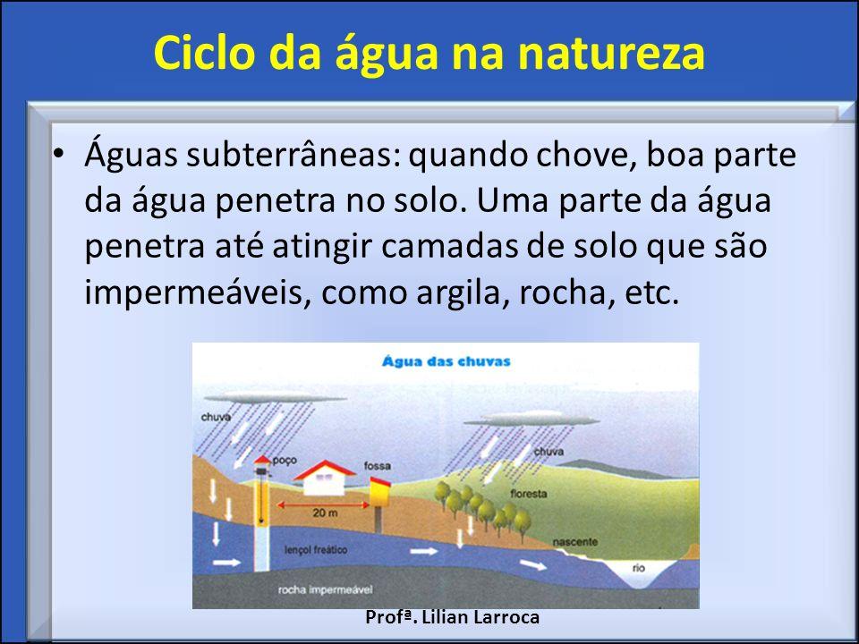 Ciclo da água na natureza Águas subterrâneas: quando chove, boa parte da água penetra no solo. Uma parte da água penetra até atingir camadas de solo q