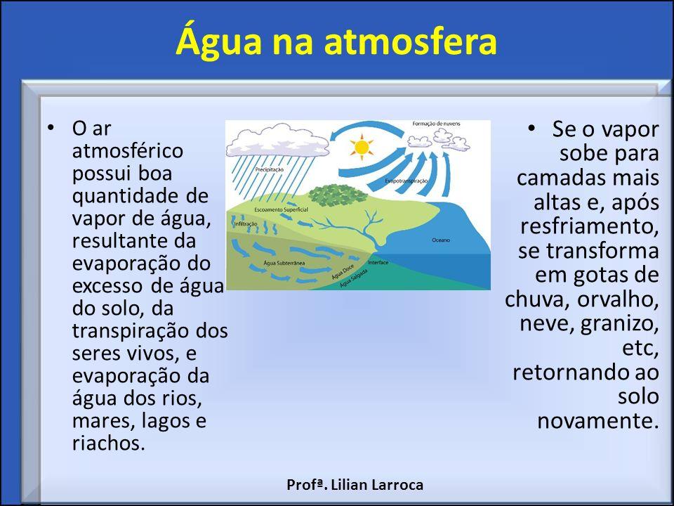 Água na atmosfera O ar atmosférico possui boa quantidade de vapor de água, resultante da evaporação do excesso de água do solo, da transpiração dos se