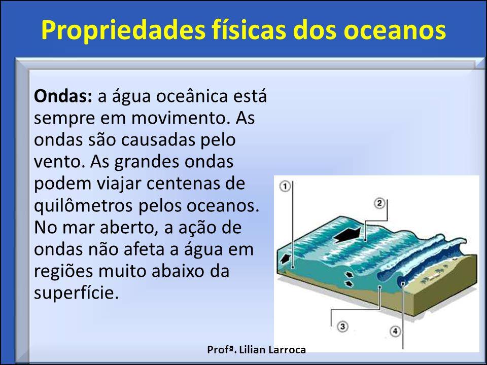 Propriedades físicas dos oceanos Ondas: a água oceânica está sempre em movimento. As ondas são causadas pelo vento. As grandes ondas podem viajar cent
